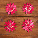 Christmas decoration on wood, red straw stars Stock Images