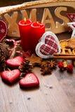 Christmas decoration on wood. Some christmas decoration on wood Royalty Free Stock Photo