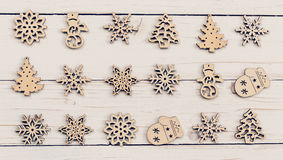 Christmas decoration wood on white wooden. Ornaments christmas d Royalty Free Stock Images