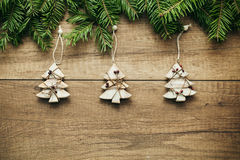 Christmas decoration with wooden background Royalty Free Stock Photos