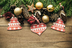 Christmas decoration with wooden background Stock Photo