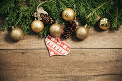 Christmas decoration with wooden background Royalty Free Stock Photo
