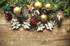 Christmas decoration with wooden background Stock Images