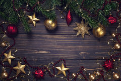 Christmas decoration on a wooden background Royalty Free Stock Images