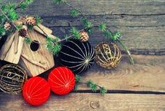 Christmas decoration on wooden background. china style balls Stock Photography
