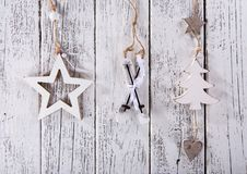 Christmas decoration on wooden background Stock Photos