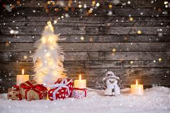 Christmas decoration on wooden background royalty free stock images