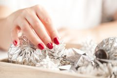 Christmas decoration on wooden background, close-up. stock photos