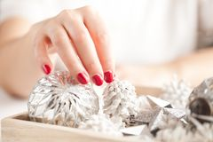 Christmas decoration on wooden background, close-up. royalty free stock photography