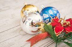 Christmas decoration on wooden background Stock Images