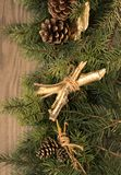 Christmas decoration on wooden background. Christmas decoration cone on wooden background Stock Photos
