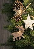Christmas decoration on wooden background. Christmas decoration  deer,star,snowflake on wooden background Royalty Free Stock Photography