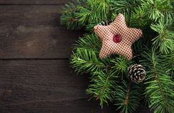 Christmas decoration on wooden background. Stock Images