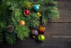 Christmas decoration on wooden background. Stock Image