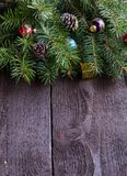 Christmas decoration on wooden background. Royalty Free Stock Photo