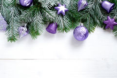 Christmas decoration on wooden background with free space. Celebration balls and other decoration Stock Photos