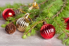 Christmas decoration on a wooden background. Horizontal Royalty Free Stock Photos