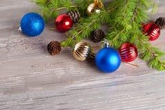 Christmas decoration on a wooden background. Horizontal Stock Photos