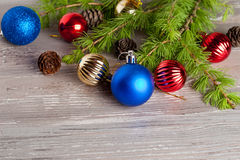 Christmas decoration on a wooden background Stock Images