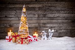 Christmas decoration on wooden background Royalty Free Stock Photo