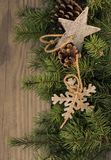 Christmas decoration on wooden background. Christmas decoration snowflake,star  on wooden background Stock Photo