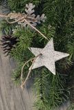 Christmas decoration on wooden background. Christmas decoration star on wooden background Stock Photos
