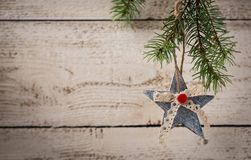 Christmas decoration on wooden background. Royalty Free Stock Photography