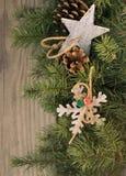 Christmas decoration on wooden background. Christmas decoration star,snowflake on wooden background Stock Image