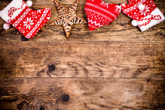 Christmas decoration, wooden background. Stock Photos
