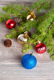 Christmas decoration on a wooden background. Vertical Royalty Free Stock Image
