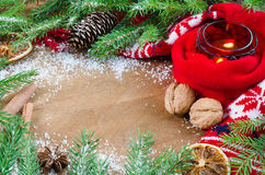 Christmas decoration on wooden background. Xmas time. Selective focus, space for text. Top view. Stock Image