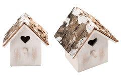 Christmas decoration wooden bird house. Isolated on white background royalty free stock photos