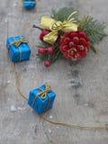 Christmas decoration on wooden blackboard. Christmas decoration with presents on wood board Royalty Free Stock Photos