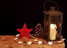 Christmas Decoration on a wooden board Royalty Free Stock Photos