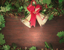 Christmas  with decoration on a wooden board. Christmas  frame on a wooden backdrop  concept vintage art still life Royalty Free Stock Photo