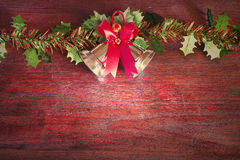Christmas  with decoration on a wooden board. Christmas  with decoration on a wooden backdrop  concept art still life Stock Photography