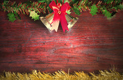 Christmas  with decoration on a wooden board. Christmas  with decoration on a wooden backdrop  concept art still life Royalty Free Stock Photos