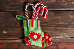 Christmas decoration on wooden boards Royalty Free Stock Images