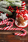 Christmas decoration on wooden boards Royalty Free Stock Photography