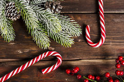 Christmas decoration on wooden boards Stock Photo