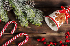 Christmas decoration on wooden boards Stock Image