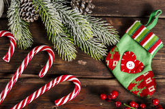 Christmas decoration on wooden boards Royalty Free Stock Image