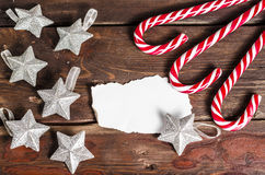 Christmas decoration on wooden boards Royalty Free Stock Photo