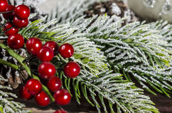 Christmas decoration on wooden boards Stock Images
