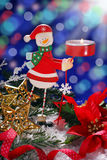 Christmas decoration with wooden candlestick Stock Images