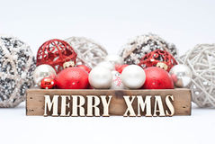 Christmas. Decoration with wooden letters Royalty Free Stock Photo