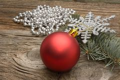 Christmas decoration on wooden plank. Stock Photos