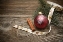 Christmas decoration on wooden plank. Stock Photography