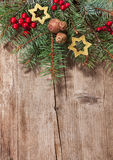 Christmas decoration on  wooden plank. Stock Image