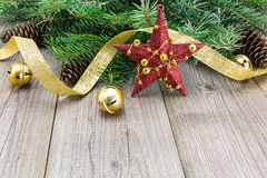 Christmas decoration on wooden plank Stock Photography